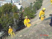 (Photo - firefighters climbing hill)