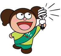 (Photo - girl scout with light bulb)
