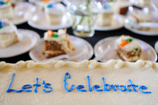 (Photo - 'Let's Celebrate' sheet cake)