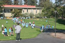 (Photo - kids gather at SLAC)