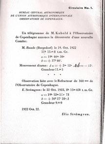 (Image - 1922 astronomer's telegram)
