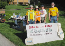 (Photo - volunteers at SLAC Bike to Work Day 2009)
