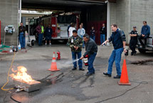 (Photo - fire extinguisher training class)