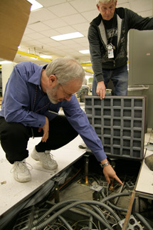 (Photo - Randy Melen in the server room)