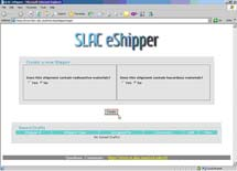 (Photo - The new SLAC E-Shipper Web interface)