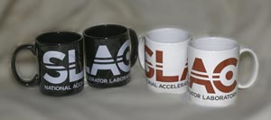 (Photo - new SLAC logo mugs)