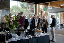 (Photo - buffet in the Panofsky Auditorium breezeway)