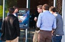 (Photo - CDMS workshop attendees on the Kavli Building patio at SLAC)